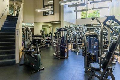 Onsite fitness center.