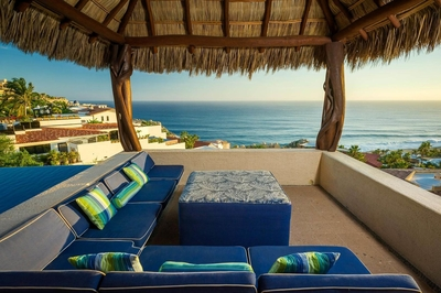 Take a seat on one of the plush cushions under the Palapa and enjoy the stunning sunsets