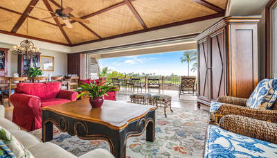 Great room with floor-to-ceiling sliding pocket doors to the lanai.