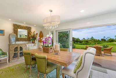 Dining room with golf course views