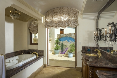 Ornate details of each bathroom will make you feel pampered and posh.