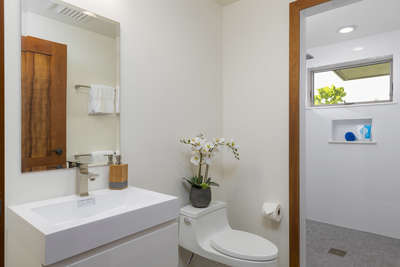2nd Bathroom with walk in shower, the 2nd and 3rd bedrooms would use this bath