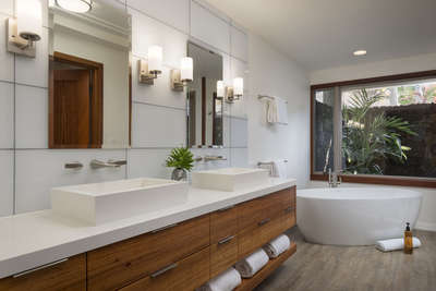 A Master Bath that rivals any 5 star hotel and includes a soaking tub, walk in shower and outdoor sh