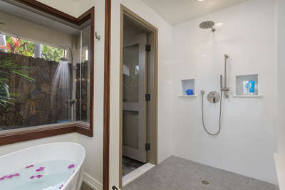 Walk In Shower with Access to Outdoor Shower