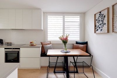 the warm contrast of white and timber