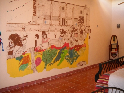The wall mural in the Colonial Suite