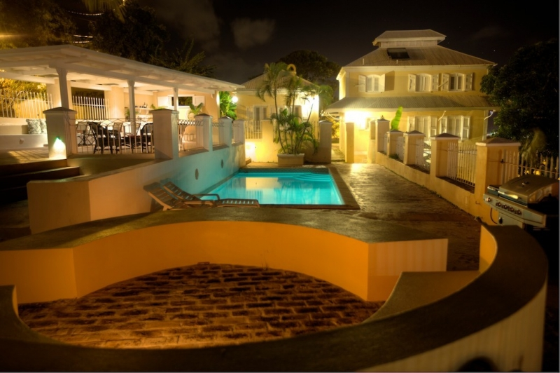 Mansion with pool at night  La Mansion in St Thomas, USVI