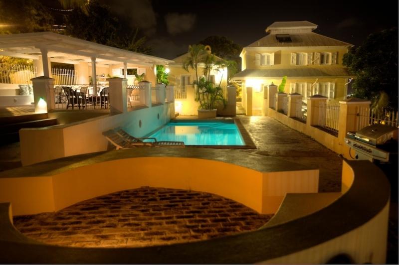 Mansion with pool at night  La Mansion in St Thomas, USVI