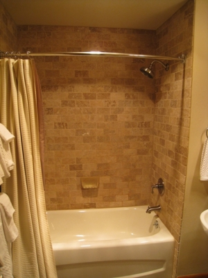 Travertine tile in the shower