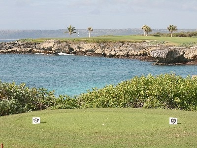 The signature hole from the tips -- 250 yd par 3