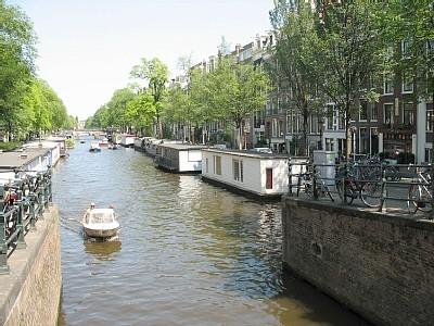Prinsenboat, house boat on canal in Amsterdam
