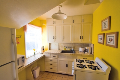 Sunlit fully equipped kitchen