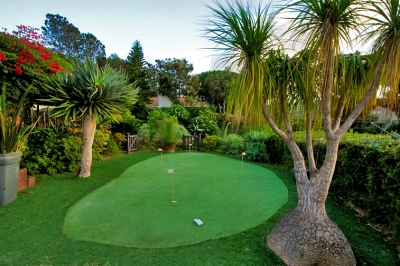 Private putting green with ocean view